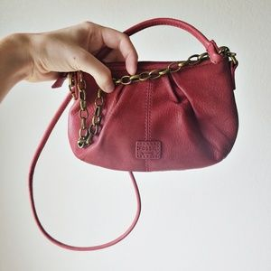 Fossil Red Mini Pebbled Leather Shoulder Purse